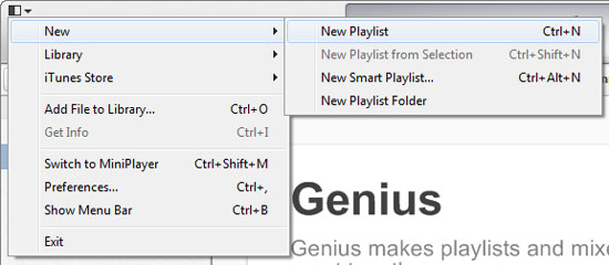 Create Playlist in iTunes 11