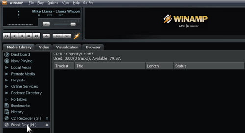 Set burn option at WinAMP